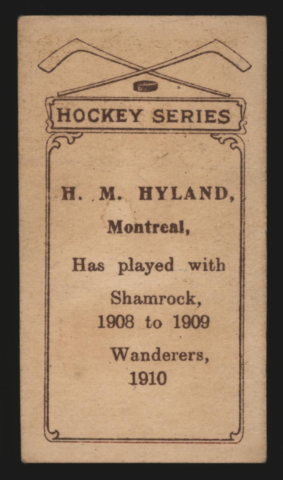 1910-1911 C56 Imperial Tobacco #10 Harry Hyland Wanderers - Back
