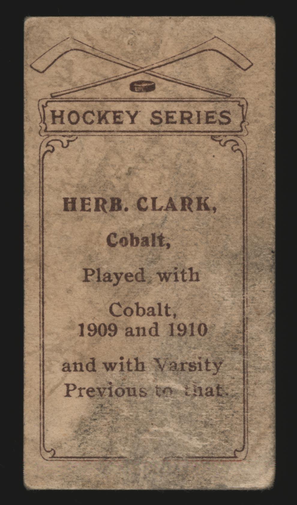 1910-1911 C56 Imperial Tobacco #11 Herb Clark Cobalt - Back