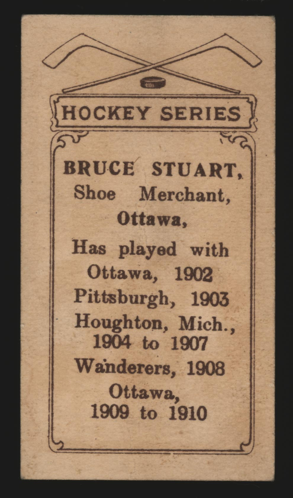 1910-1911 C56 Imperial Tobacco #17 Bruce Stuart Ottawa - Back