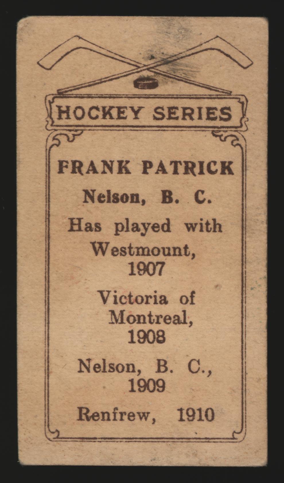 1910-1911 C56 Imperial Tobacco #1 Frank Patrick Renfrew - Back
