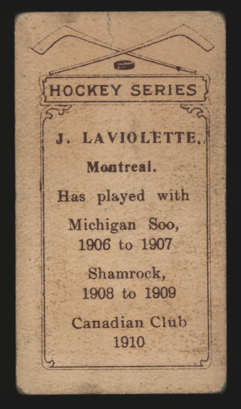 1910-1911 C56 Imperial Tobacco #21 Jack Laviolette Canadian - Back