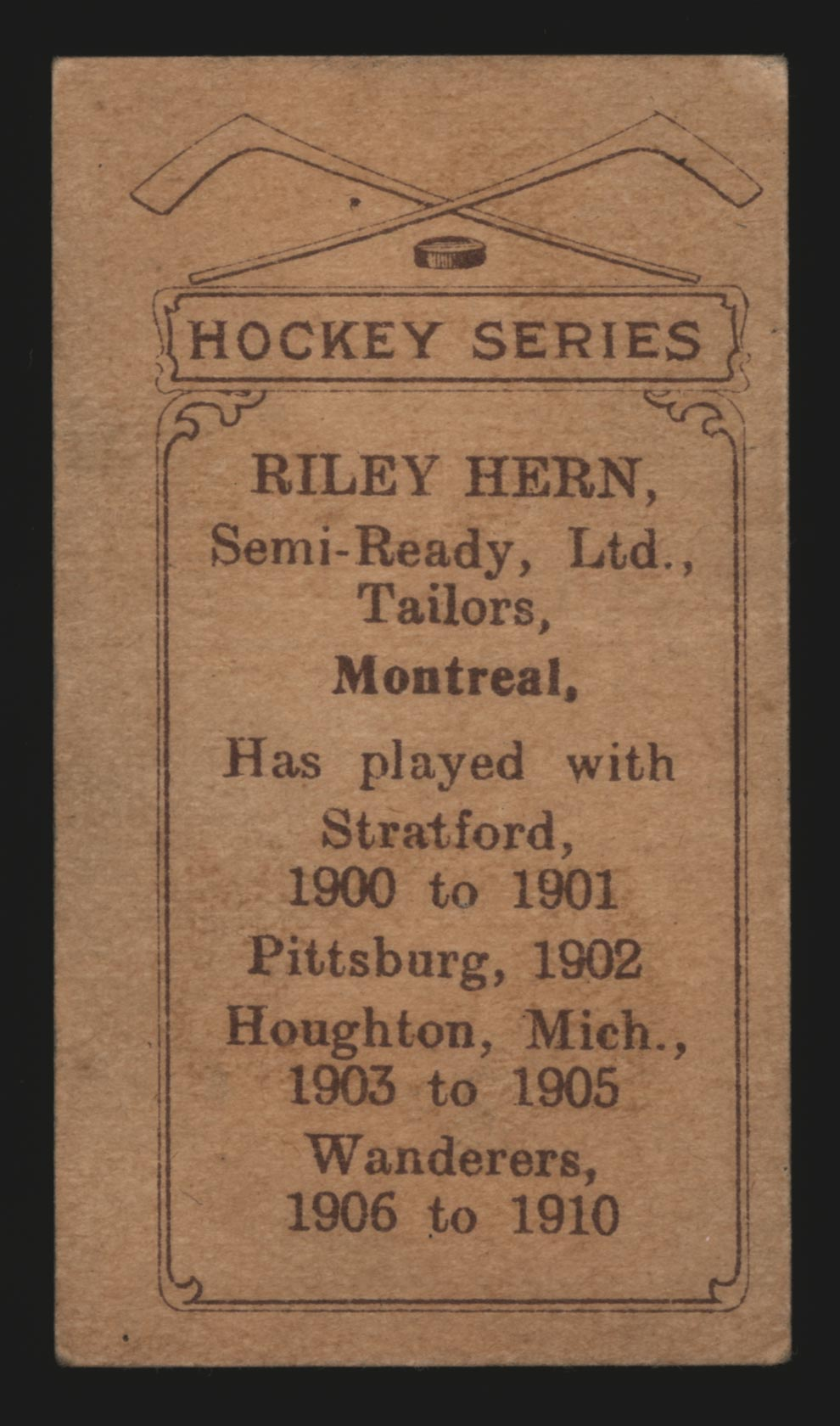 1910-1911 C56 Imperial Tobacco #22 Riley Hern Wanderers - Back