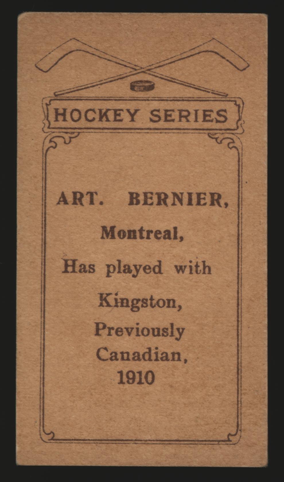 1910-1911 C56 Imperial Tobacco #25 Art Bernier Canadian - Back