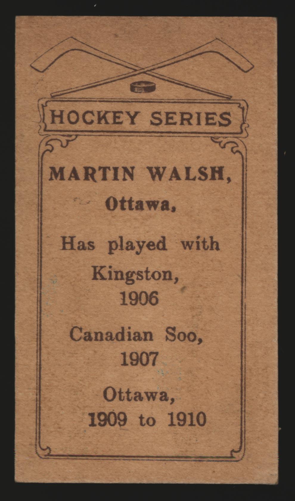 1910-1911 C56 Imperial Tobacco #7 Marty Walsh Ottawa - Back