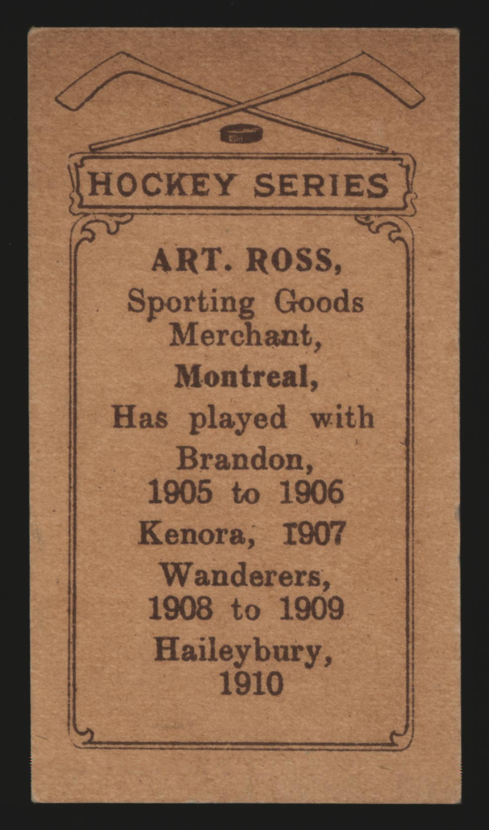 1910-1911 C56 Imperial Tobacco #8 Art Ross Haileybury - Back