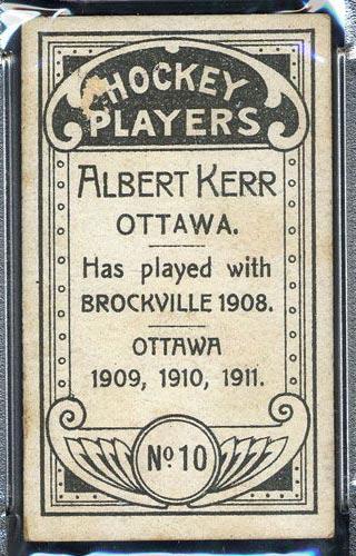 1911-1912 C55 Imperial Tobacco #10 Albert Kerr Ottawa - Back