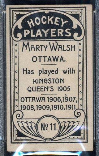 1911-1912 C55 Imperial Tobacco #11 Marty Walsh Ottawa - Back