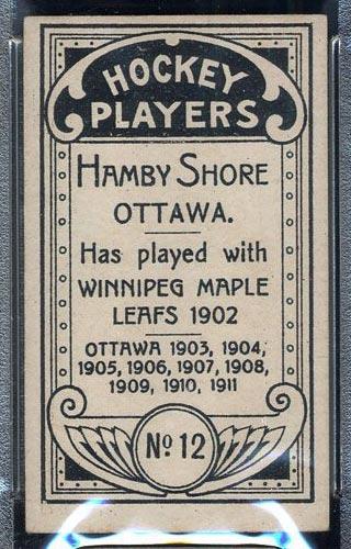1911-1912 C55 Imperial Tobacco #12 Hamby Shore Ottawa - Back