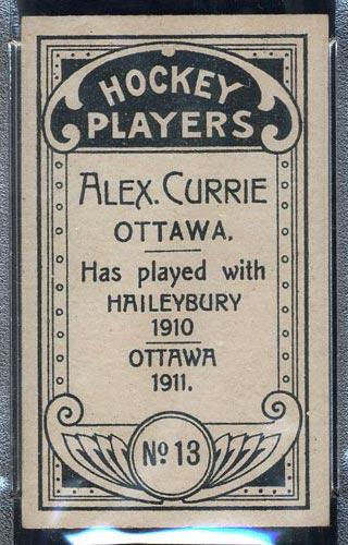 1911-1912 C55 Imperial Tobacco #13 Alex Currie Ottawa - Back