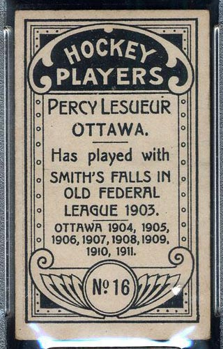 1911-1912 C55 Imperial Tobacco #16 Percy Lesueur Ottawa - Back