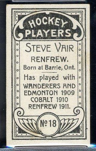 1911-1912 C55 Imperial Tobacco #18 Steve Vair Renfrew - Back