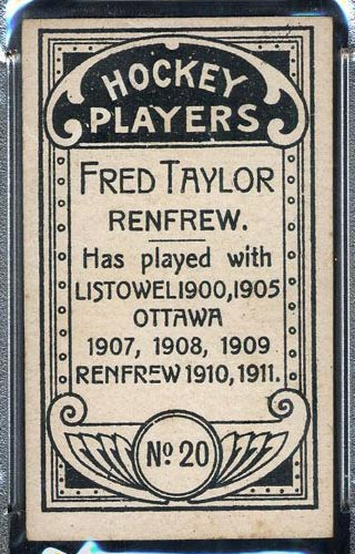 1911-1912 C55 Imperial Tobacco #20 Fred Taylor Renfrew - Back