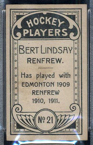 1911-1912 C55 Imperial Tobacco #21 Bert Lindsay Renfrew - Back