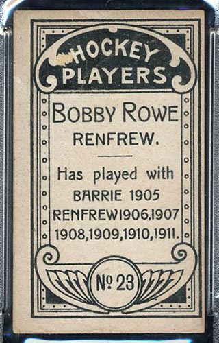 1911-1912 C55 Imperial Tobacco #23 Bobby Rowe Renfrew - Back