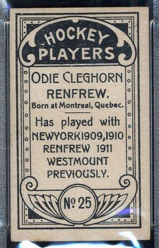 1911-1912 C55 Imperial Tobacco #25 Odie Cleghorn Renfrew - Back