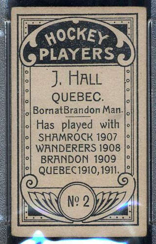 1911-1912 C55 Imperial Tobacco #2 Joe Hall Quebec - Back