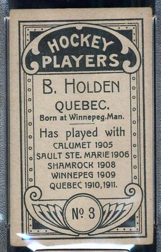 1911-1912 C55 Imperial Tobacco #3 Barney Holden Quebec - Back