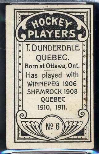 1911-1912 C55 Imperial Tobacco #6 Tom Dunderdale Quebec - Back