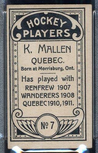 1911-1912 C55 Imperial Tobacco #7 Ken Mallen Quebec - Back