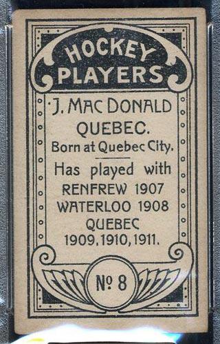 1911-1912 C55 Imperial Tobacco #8 Jack MacDonald Quebec - Back