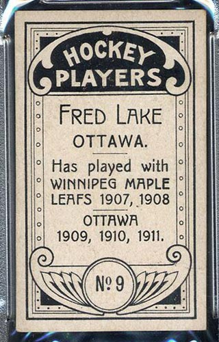 1911-1912 C55 Imperial Tobacco #9 Fred Lake Ottawa - Back