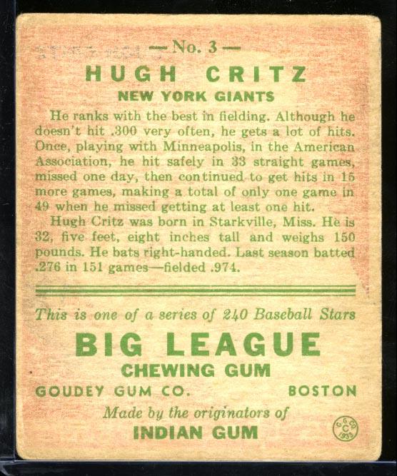 Bmw Sportscards Hugh Critz 3 1933 Goudey Baseball