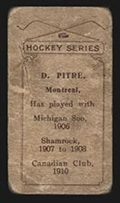 1910-1911 C56 Imperial Tobacco #23 Didier Pitre Canadian - Back