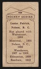 1910-1911 C56 Imperial Tobacco #26 Lester Patrick Renfrew - Back