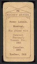 1910-1911 C56 Imperial Tobacco #37 Newsy Lalonde (with commas) Renfrew - Back
