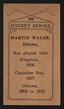 1910-1911 C56 Imperial Tobacco #7 Marty Walsh Ottawa - Back