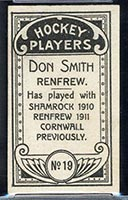 1911-1912 C55 Imperial Tobacco #19 Don Smith Renfrew - Back