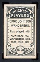 1911-1912 C55 Imperial Tobacco #28 Ernie Johnson Wanderers - Back
