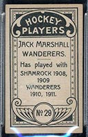 1911-1912 C55 Imperial Tobacco #29 Jack Marshall Wanderers - Back