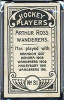 1911-1912 C55 Imperial Tobacco #31 Arthur Ross Wanderers - Back