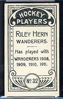 1911-1912 C55 Imperial Tobacco #32 Riley Hern Wanderers - Back
