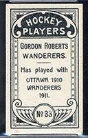 1911-1912 C55 Imperial Tobacco #33 Gordon Roberts Wanderers - Back