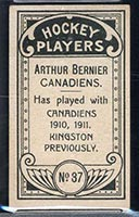 1911-1912 C55 Imperial Tobacco #37 Art Bernier Canadiens - Back