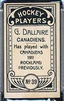 1911-1912 C55 Imperial Tobacco #39 G. (Henri) Dallaire Canadiens - Back