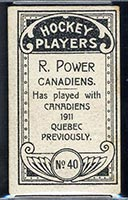 1911-1912 C55 Imperial Tobacco #40 R. (Rocket) Power Canadiens - Back
