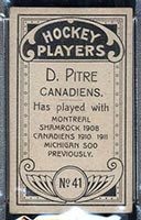 1911-1912 C55 Imperial Tobacco #41 Didier Pitre Canadiens - Back