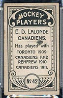1911-1912 C55 Imperial Tobacco #42 Newsy Lalonde Canadiens - Back