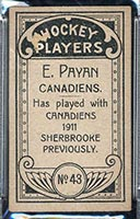 1911-1912 C55 Imperial Tobacco #43 Eugene Payan Canadiens - Back