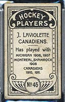 1911-1912 C55 Imperial Tobacco #45 Jack Laviolette Canadiens - Back