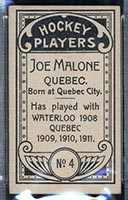 1911-1912 C55 Imperial Tobacco #4 Joe Malone Quebec - Back