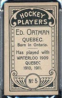 1911-1912 C55 Imperial Tobacco #5 Ed Oatman Quebec - Back