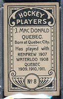 1911-1912 C55 Imperial Tobacco #8 Jack MacDonald Quebec - Back