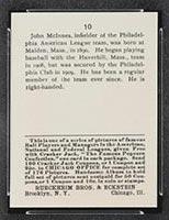 1915 E145-2 Cracker Jack #10 John McInnis Philadelphia (American) - Back