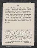1915 E145-2 Cracker Jack #13 Art Wilson Chicago (Federal) - Back