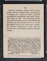 1915 E145-2 Cracker Jack #16 Howie Camnitz Pittsburgh (Federal) - Back