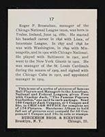 1915 E145-2 Cracker Jack #17 Roger Bresnahan Chicago (National) - Back